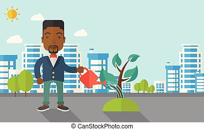 Black guy watering the plant - A black guy watering the...