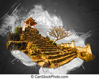 Ninh Binh, Vietnam - Pagoda on top of Hang Mua viewpoint,...
