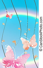 butterfly and rainbow - drawing of beautiful butterfly and...