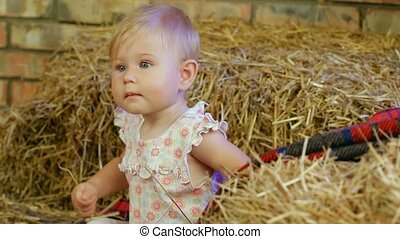 Girl In A Haystack - Cheerful little girl sitting on a...