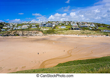 Mawgan Porth Newquay Cornwall - Overlooking the golden sandy...