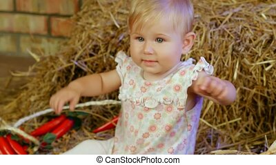 Farm Girl - Little girl sits on a farm in a haystack.