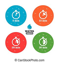 Timer icons Five minutes stopwatch symbol - Water drops on...