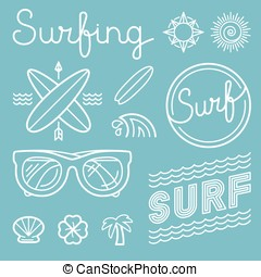 Vector set of surfing logos
