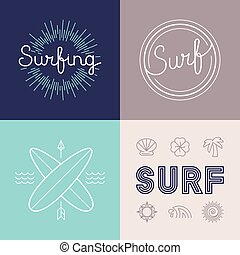 Vector set of surfing logo design templates in trendy linear...