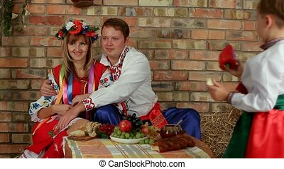 Ukrainian National Family - A large family dressed in...
