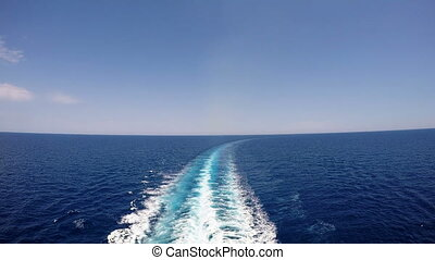 Cruise ship track on the sea