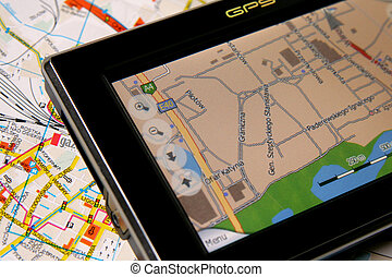 GPS AND MAP - A GPS mobile navigation device and old...