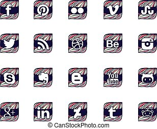 Twenty social icons in wavy style - Twenty most common...
