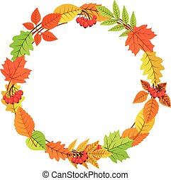 Autumn garland of bright fall leaves. - Colorful vector...