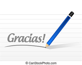 gracias. thanks in spanish message illustration design