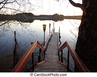 Footbridge - The stairs and footbridge to the lake
