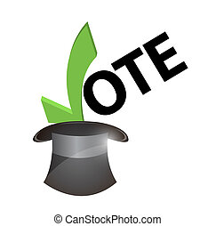 vote inside a hat concept illustration