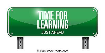 time for learning road sign illustration design over white