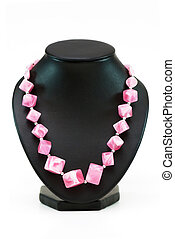 Necklace with many pink stones isolated on the white