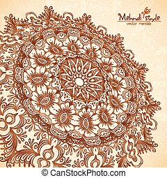 Vector perspective mehndi mandala in henna tattoo style