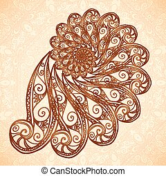 Vector fractal spiral in henna tattoo style - Vector fractal...