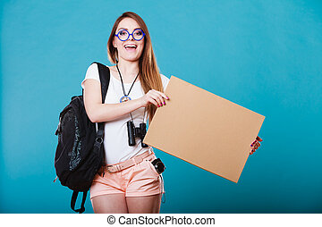 woman hitchhiking with blank sign for your text. - Travel...