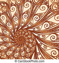 Vector spiral background in henna tattoo style - Vector...