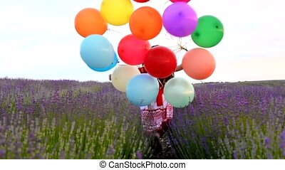 Girl With Balloons Runs In Lavender