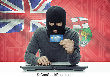 Dark-skinned hacker with Canadian province flag on...