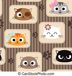 Pattern with cats - Seamless pattern with cute cats Vector...