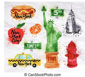 New York symbols crumled paper - New York symbols watercolor...