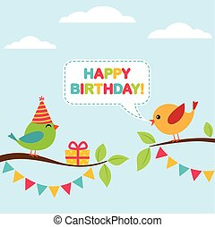 Vector birthday card - Vector birthday party card with cute...