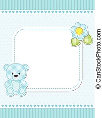 Blue teddy bear card - Illustration of blue teddy bear for...