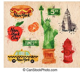 New York symbols kraft - New York symbols watercolor drawing...