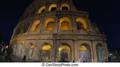 Colosseum of Rome at Night - Timelapse shot of Colosseum of...