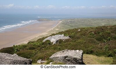 View Rhossili Down to Burry Holms - View from Rhossili Down...