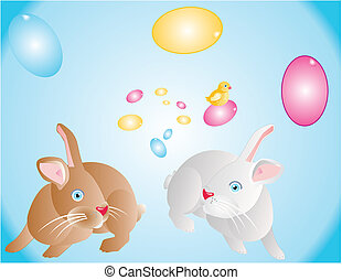 Bunnies and chick getting ready for Easter..