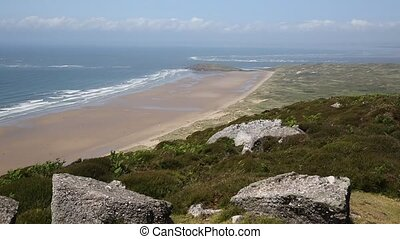 View from Rhossili Down to Burry Holms and Hillend The Gower...