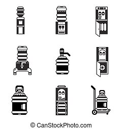 Black vector icons for water cooler