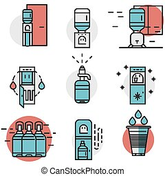 Water cooler flat line colored vector icons - Flat line...