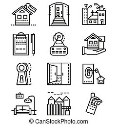 Rental of property line vector icons