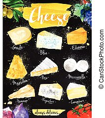 Poster cheese chalk - Poster cheese watercolor, gouda, blue,...