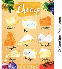 Poster cheese kraft - Poster cheese watercolor, gouda, blue,...