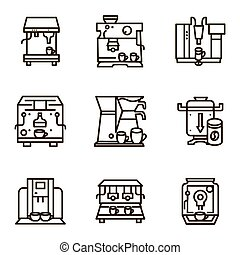 Flat line vector icons for selling coffee machines