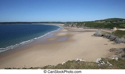 Sandy beach and blue sea The Gower - Sandy beach and blue...