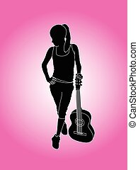 woman with guitar on background