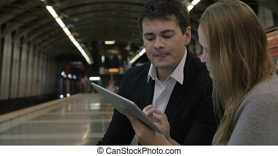 Doing Business Everywhere with Tablet PC - Business people...