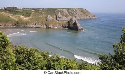 View of Three Cliffs Bay the Gower Peninsula Swansea Wales...