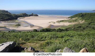 Front view Three Cliffs Bay Gower - Front view Three Cliffs...
