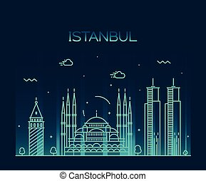 Istanbul City skyline vector illustration line art