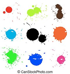 Colored blobs set - Colored ink blots Vector illustration...