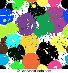 Colored blobs set - Colored ink blots Seamless pattern...