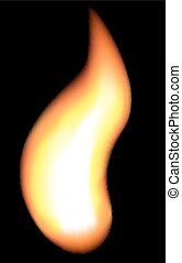 Fire vector - Realistic fire on black background Gradient...
