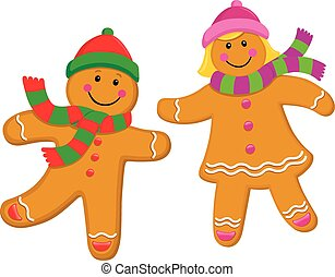 Gingerbread Kids Wearing Knit Caps - Cartoon illustrations...